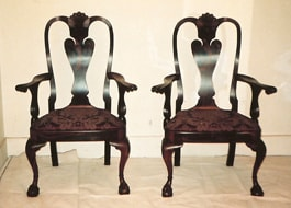 Cocobolo Boston Chippendale Parrot Back Arm Chairs