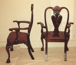 Cocobolo Boston Chippendale Parrot Back Arm Chairs side and back