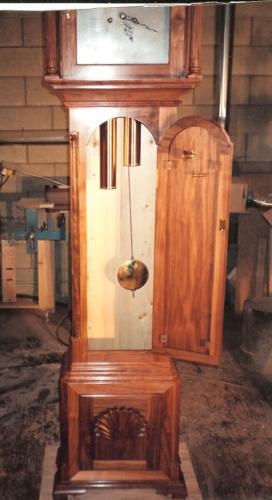 Newport-Rhode Island Chippendale Tall Clock Case pendulum and weights