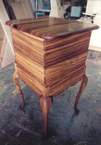 Queen Anne Zebrawood Cutlery Chest back